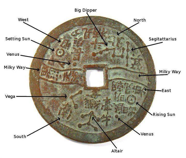 Star map on an ancient Chinese coin