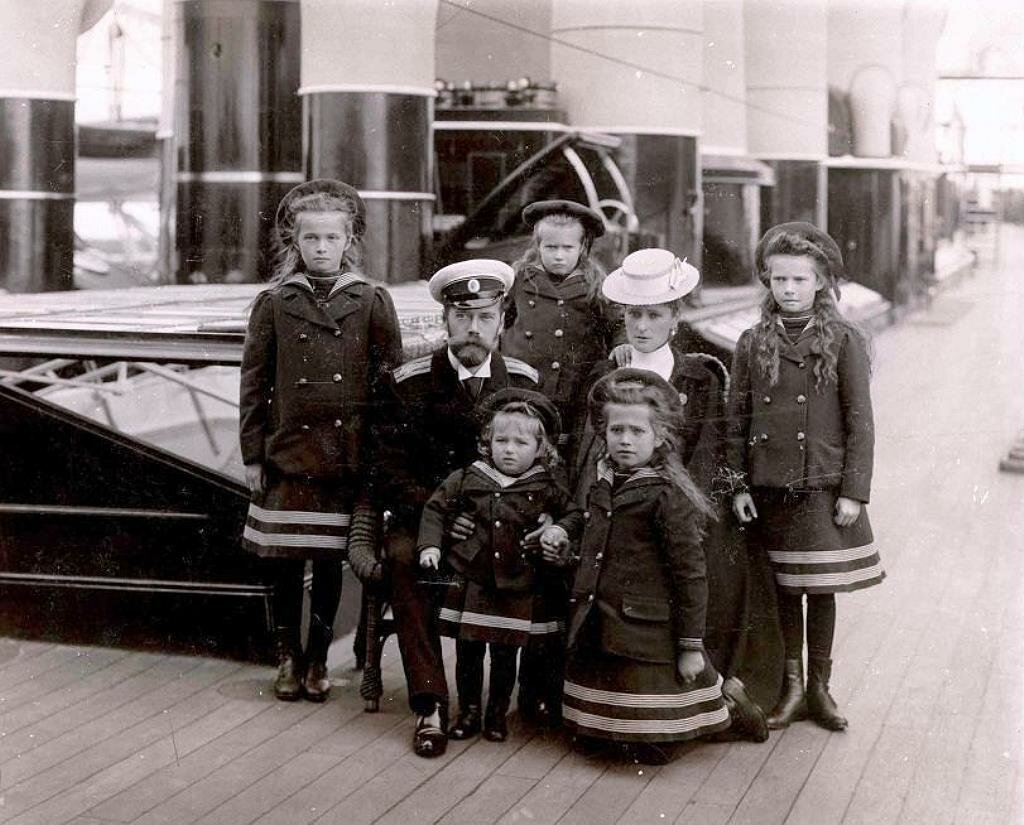 Tsar Nicholas II with his family on board the imperial yacht Standart