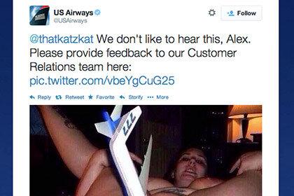 В ответ на жалобу, пассажирке US Airways прислали порно снимок