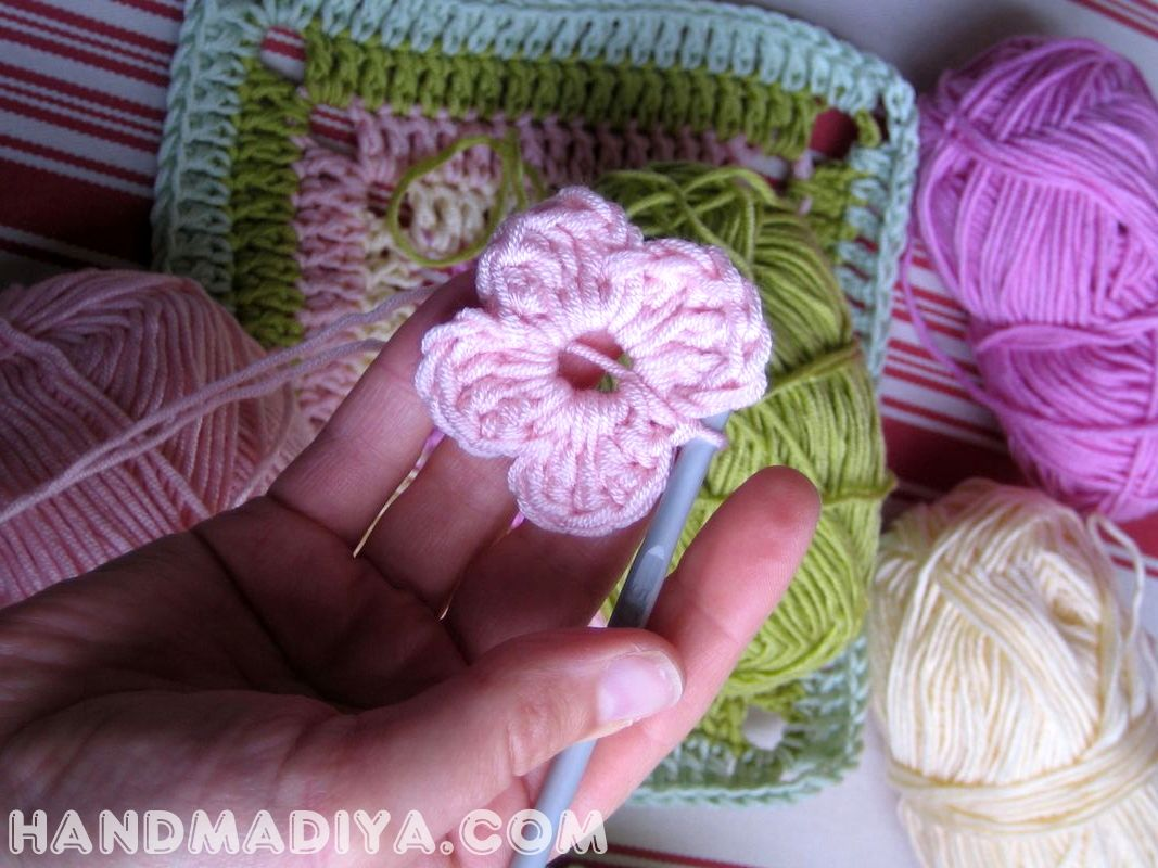 Мотив для пледа. Knit crochet squares for plaid.