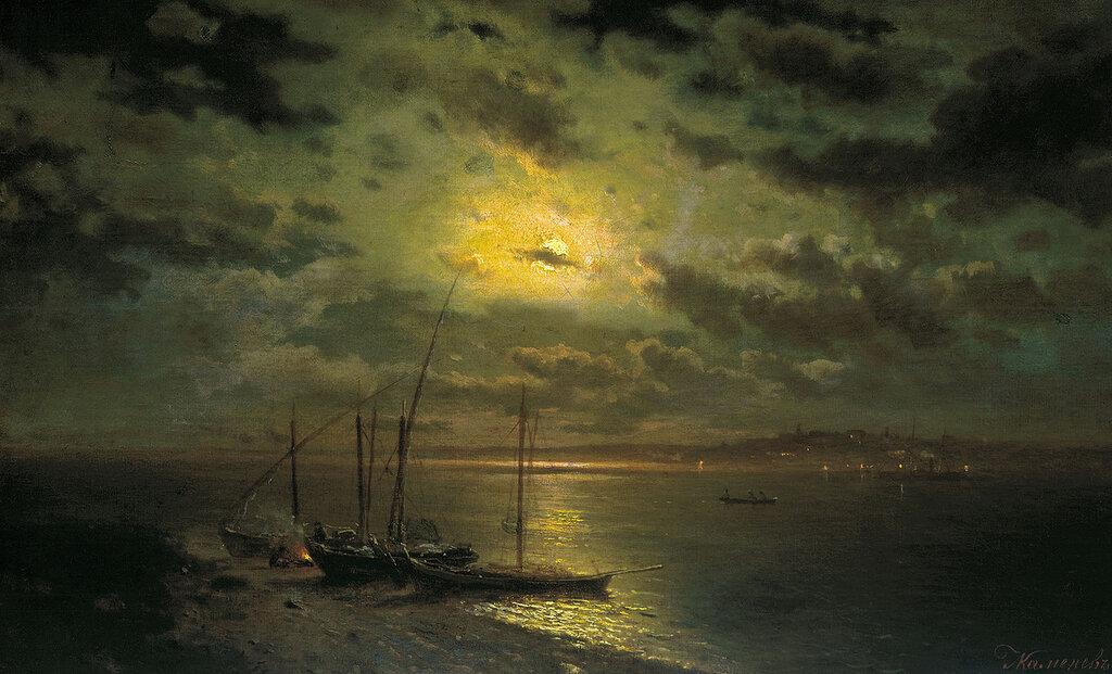 Лунная ночь на реке. 1870-е. Холст, масло. 53х86 см.jpg