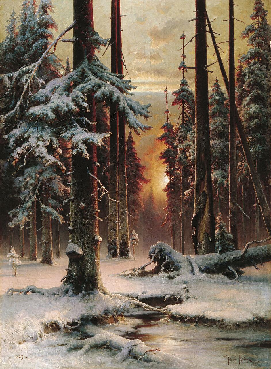 Зимний закат в еловом лесу. 1889. Холст, масло, 143х104 см.jpg