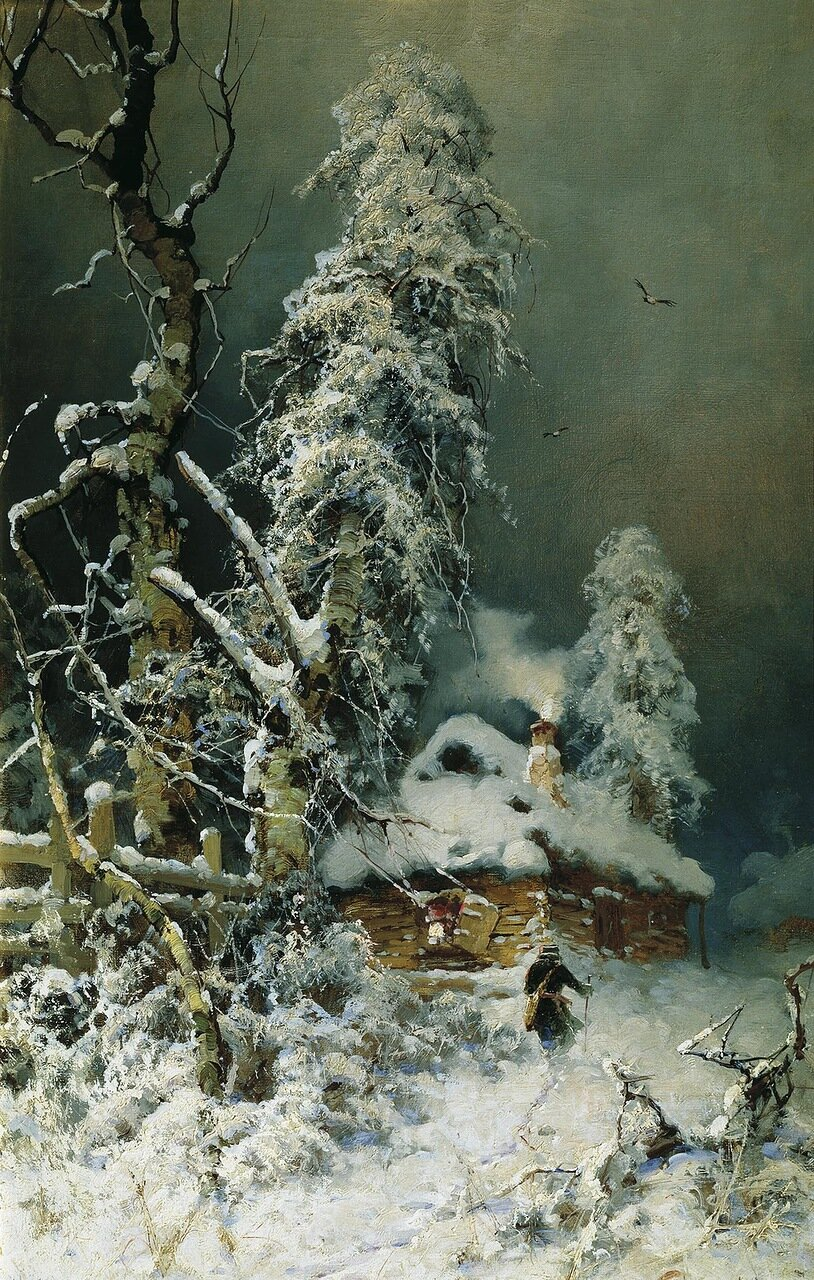 Зимний пейзаж с избушкой. Холст, масло.jpg