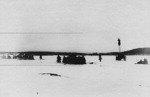 Батарея во время показательных учений по стрельбе на льду Невы.
