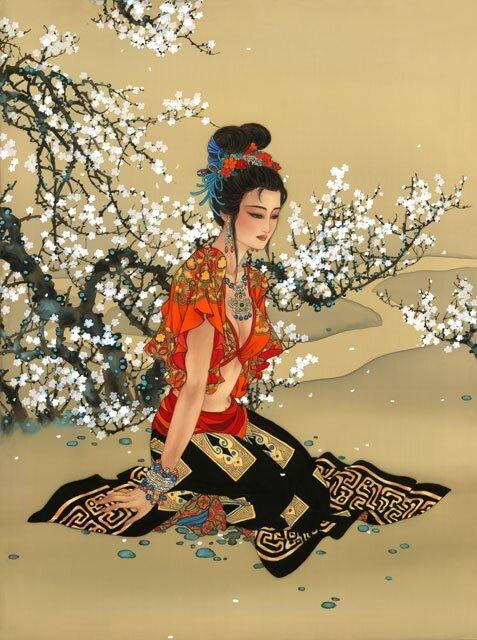 Фиалка ранняя, цветок степей Хэчжуна. Акварель на шелке Кэролайн Янг (Caroline Young)
