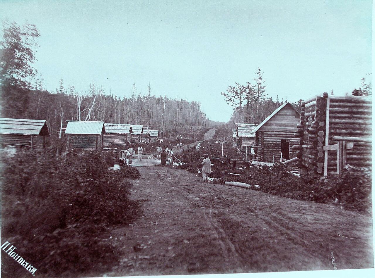 41. Местные жители во время строительства домов. Село Листвяги