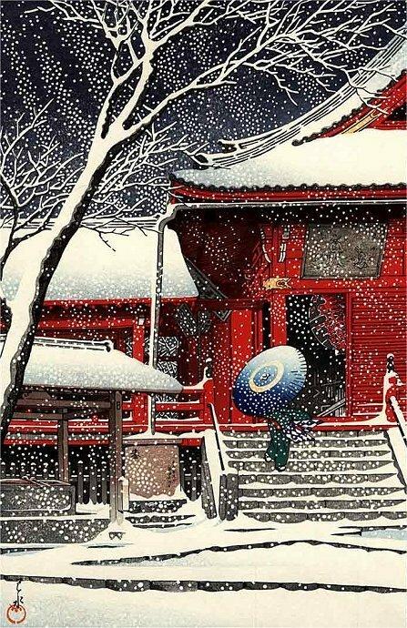 Kawase Hasui (1883-1957) Kiyomizudo in Snow