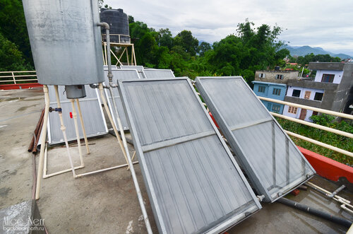 Solar cells on the roof for water heating