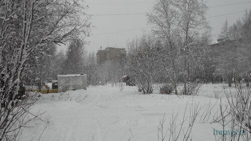 Фотография Инты №6246  Куратова 22, 20 (гимназия №2), вид от Куратова 13 (налоговая) (+1 градус, идёт снег) 14.11.2013_11:41