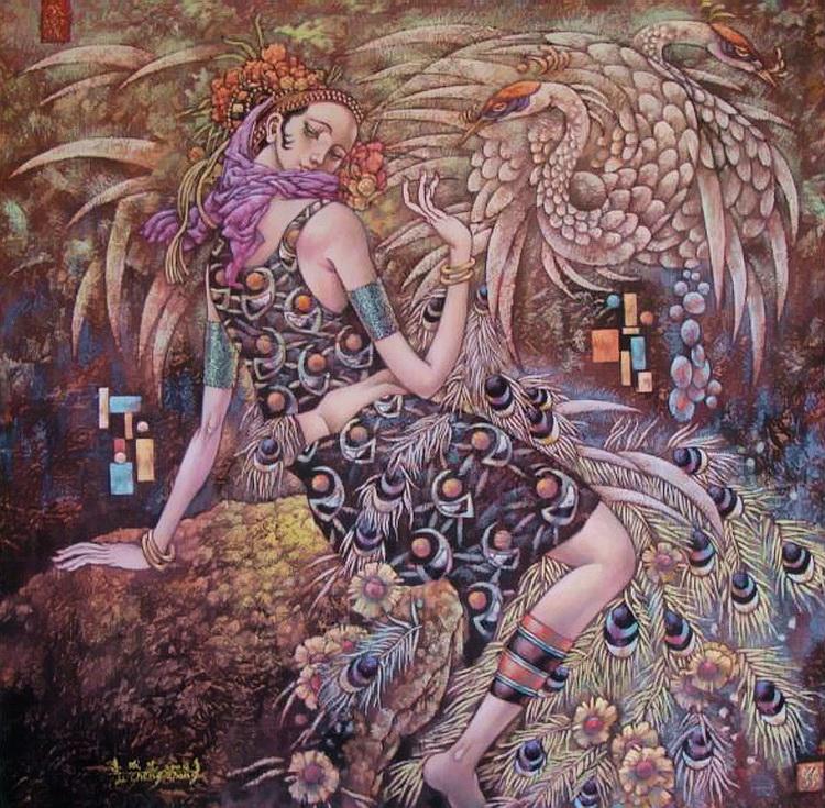 Женщины все - это птицы! Художник Li Chengzhong
