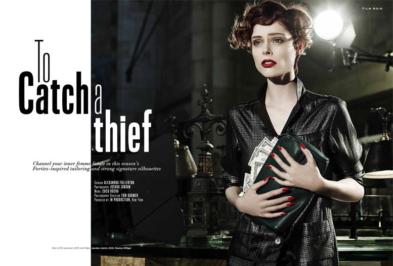 Поймать вора - Коко Роча / Coco Rocha by Joshua Jordan as Film Noir in Stylist Magazine a/w 2013