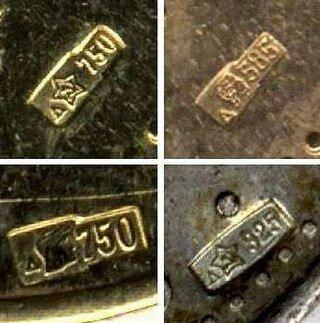 Обозначения пробы серебра, золота, платины