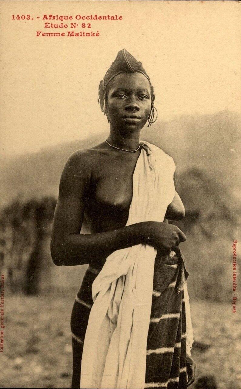 Женщина племени малинке. Французская Экваториальная Африка