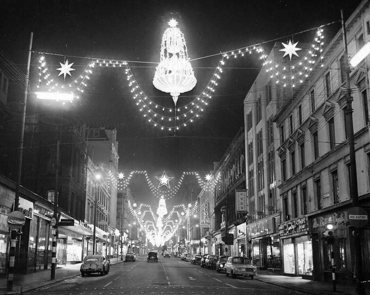 Sauchiehall Street Christmas lights. Glasgow, 1960s