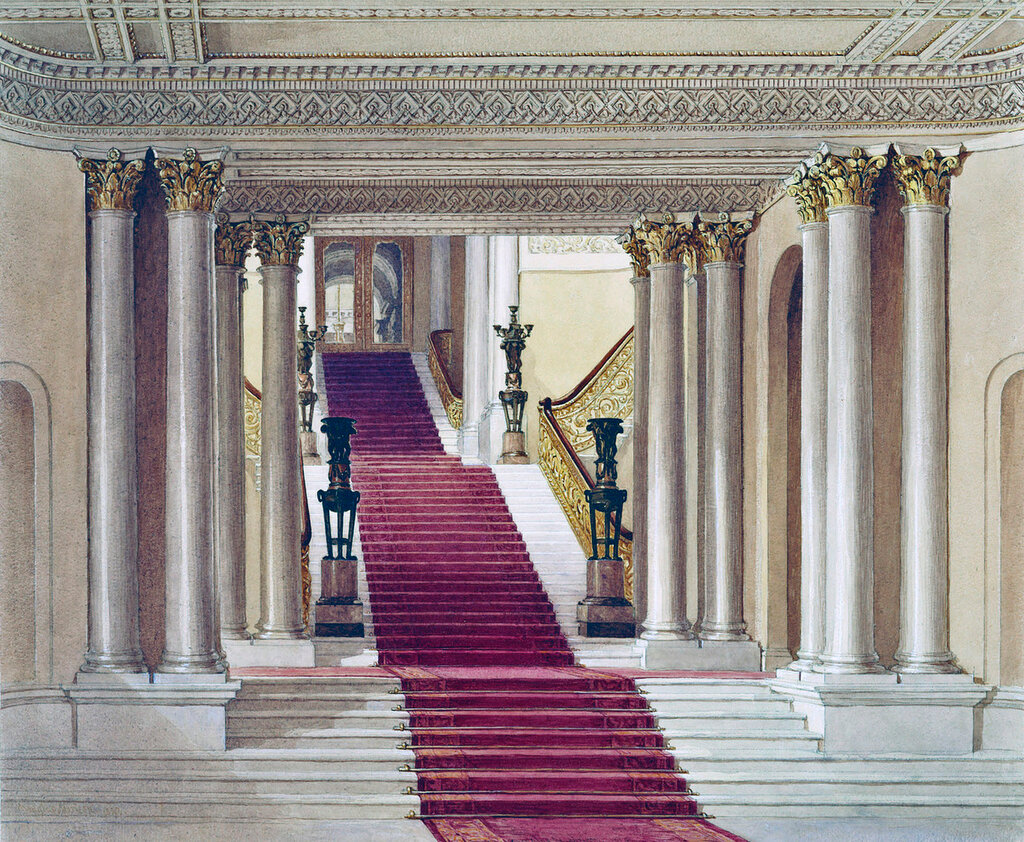 Buckingham Palace: The Grand Staircase seen from the Marble Hall
