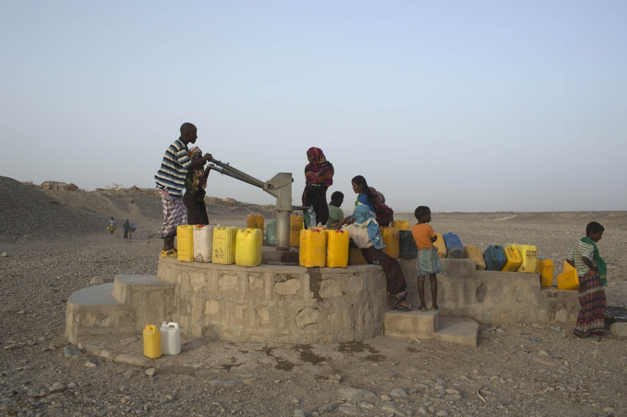 Residents of Hamad-Ile pump water from a well in the Danakil Depression, northern Ethiopia