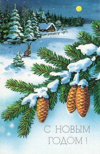 Шишечки. С Новым годом! открытка поздравление картинка