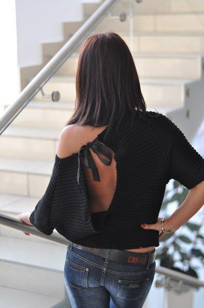 Пуловер с открытой спиной кораллового цвета