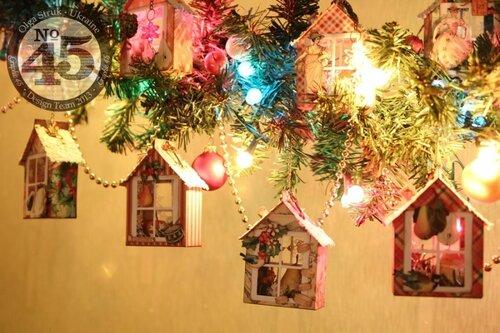 Новогодние игрушки в виде домиков Ольги Струк