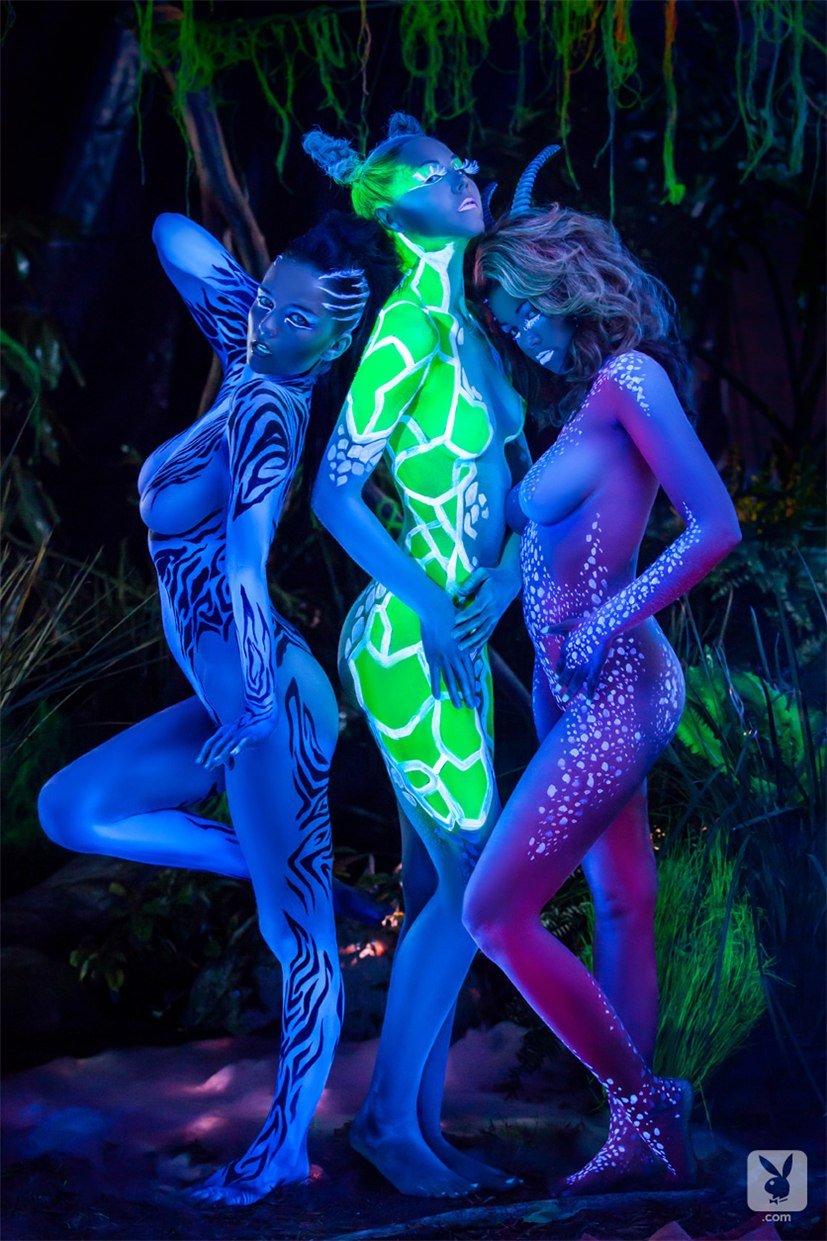 Playboy bodypaint / Yevgeniya Diordiychuk, Dani Mathers, Kelsey Ann, Katie Carroll and Ali Rose - Playboy Special Edition - Animal Instincts After Dark