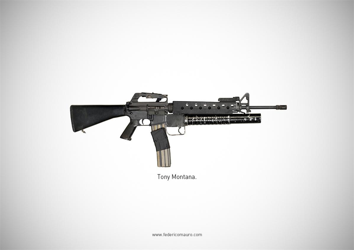 Знаменитые пушки - оружие культовых персонажей / Famous Guns by Federico Mauro - Tony Montana (Scarface)