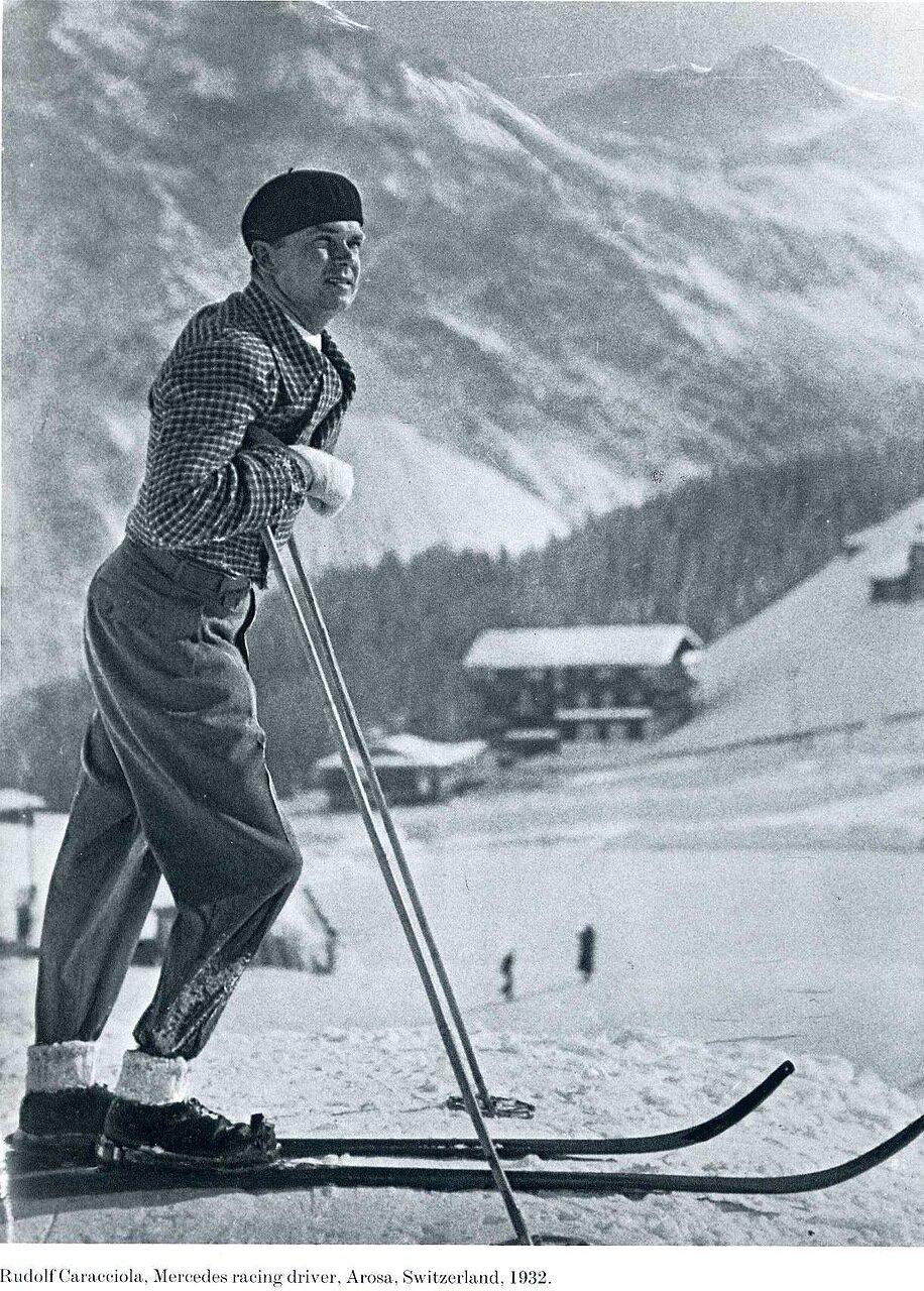 1932. Рудольф Караччиола, гонщик компании «Мерседес», Ароза, Швейцария