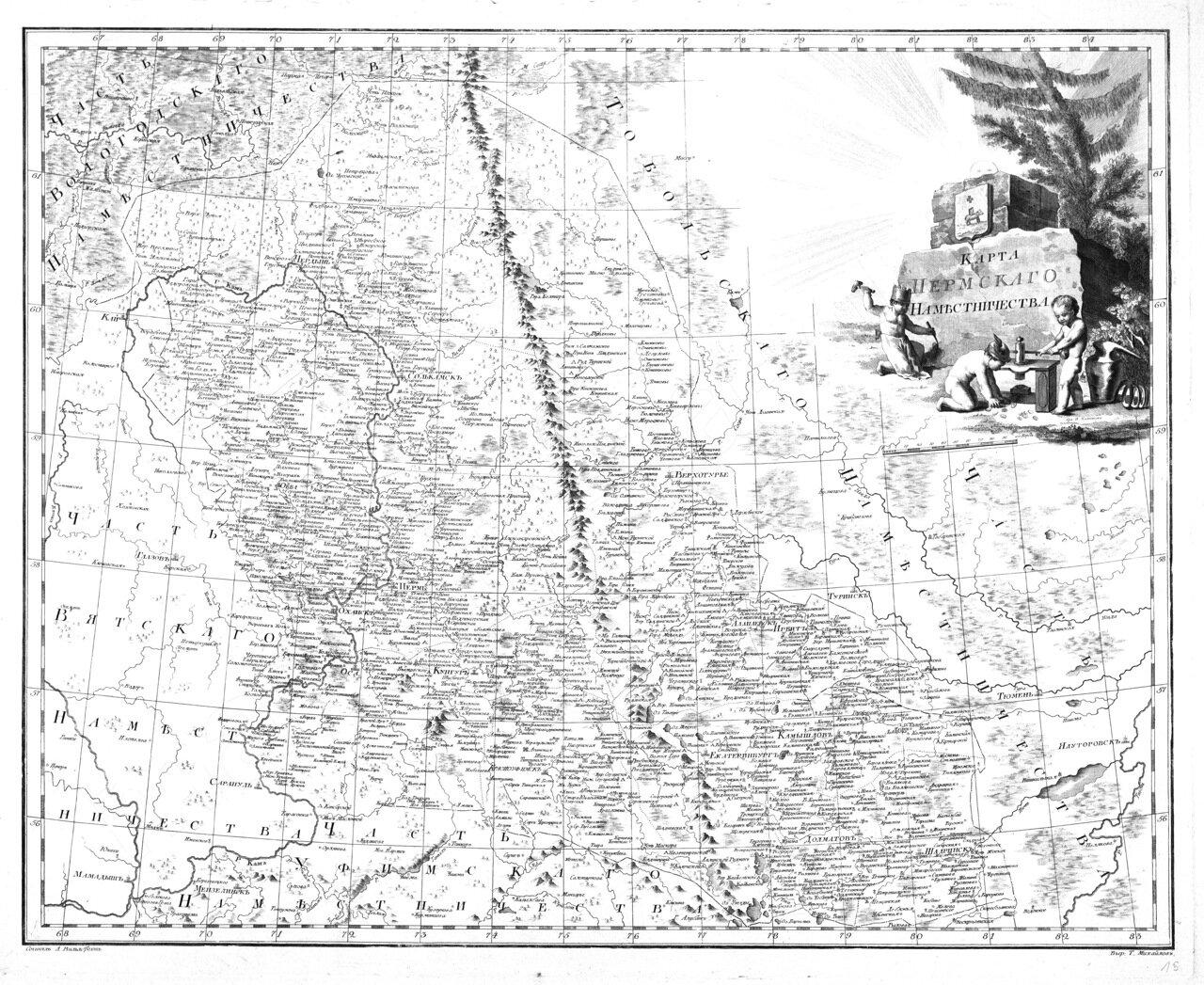 1792. Карта Пермского наместничества А.Вилбрехта