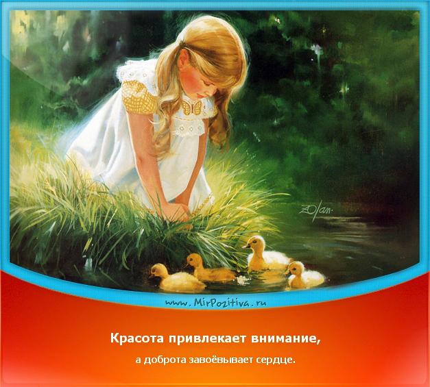 позитивчик дня: Красота привлекает внимание, а доброта завоёвывает сердце.