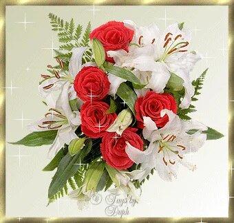 Розы и лилии открытка поздравление картинка