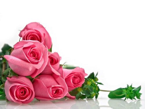 Букет из розовых роз лежит на белом зеркальном столе открытка поздравление картинка