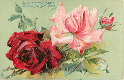 винтажные открытки  Розы открытка поздравление картинка