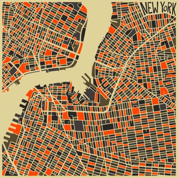 Абстракции карт известных городов Джазберри Блю (8 фото)
