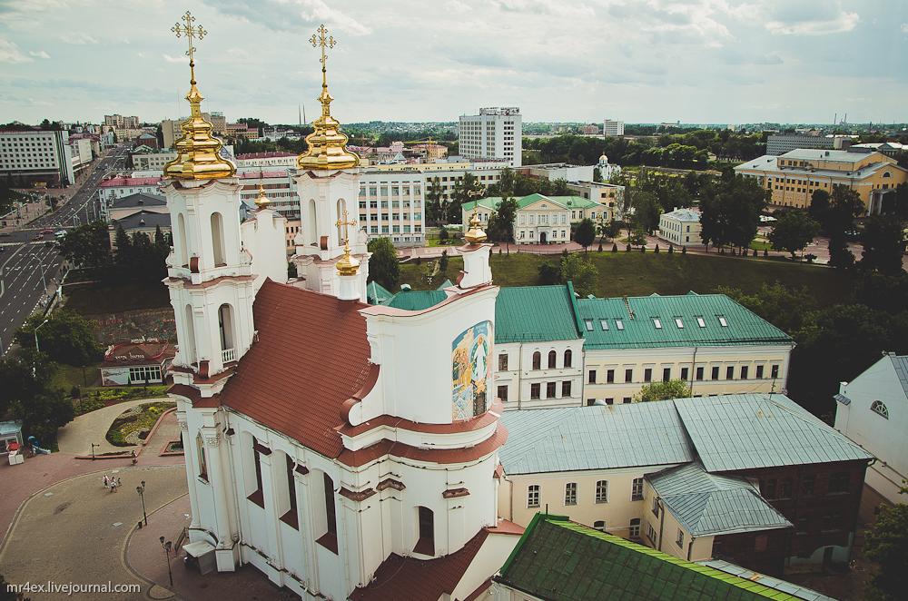 Витебск, площадь Победы, улица Ленина, вид сверху, Воскресенская церковь