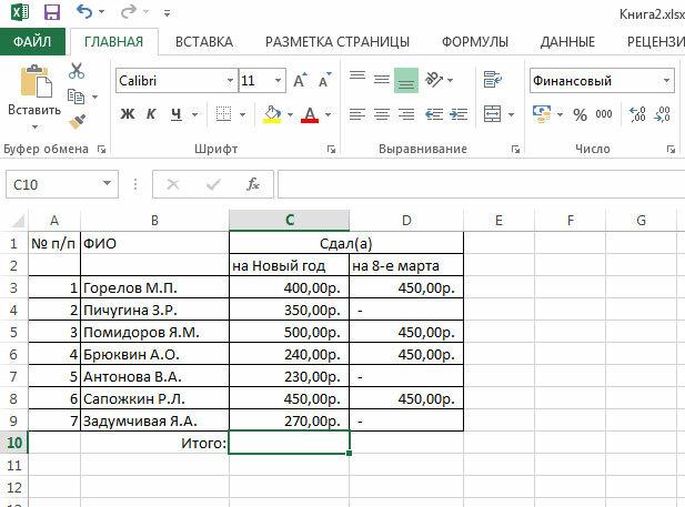 Рис. 3.1. Выделение ячейки для получения итоговых данных