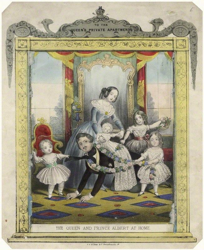 Принцесса Алиса с матерью королевой Викторией, отцом принцем-консортом Альбертом, сестрой Викторией и братьями Альбертом-Эдуардом и Альфредом-Эрнестом, 1844 г.