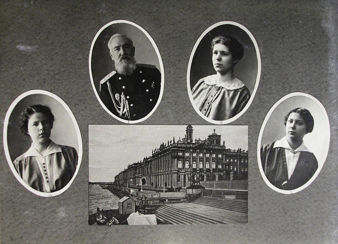 09.Табло с портретами студенток и преподавателей; внизу - вид на Зимний дворец