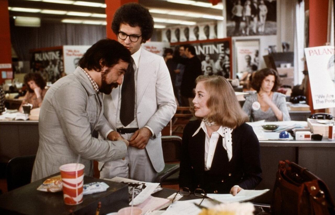 1976. Сибил Шеппард, Мартин Скорцезе и Альберт Брукс на съемках «Таксиста»