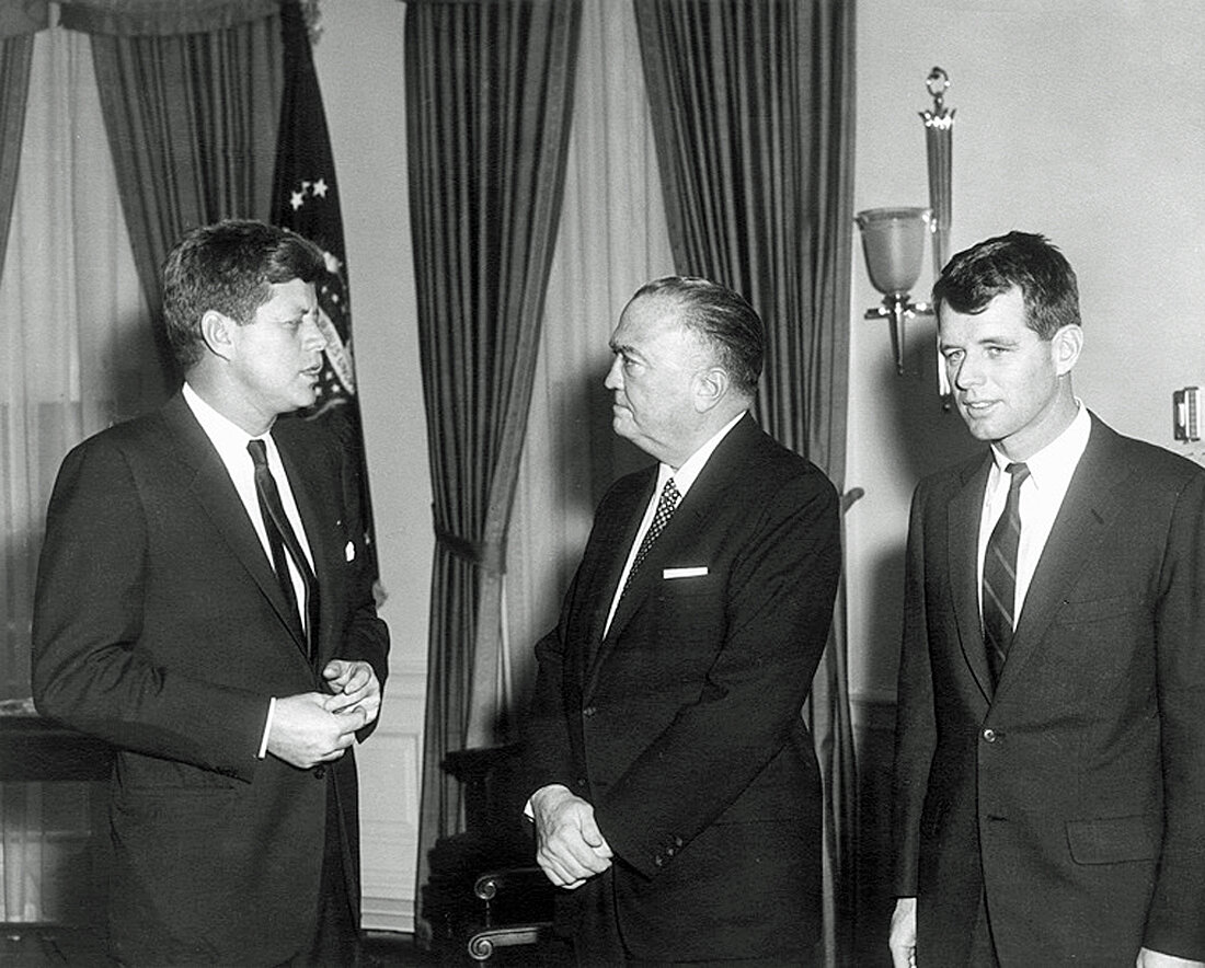 23 February 1961  Meeting with the Attorney General and Director of the Federal Bureau of Investigation. President Kennedy, Director Hoover, Attorney General Kennedy. White House, Oval Office.