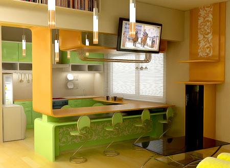 Планировка кухни-студии: