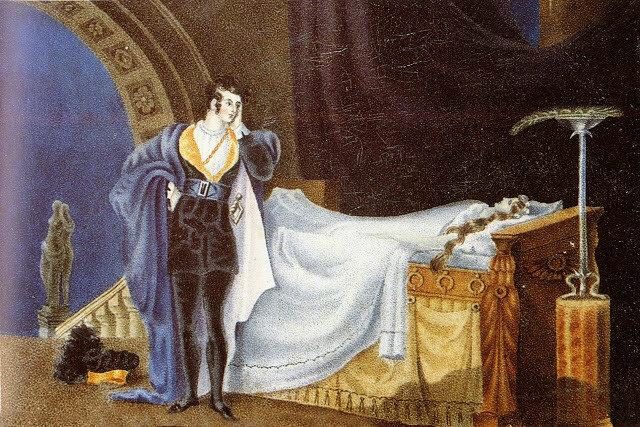 рисунок из всего наследия всех Бронте Атеист созерцает мертвое тело своей жены. Рисунок 1835 - 1836 г, не понятно чей, указ Альфред Клейтон.jpg
