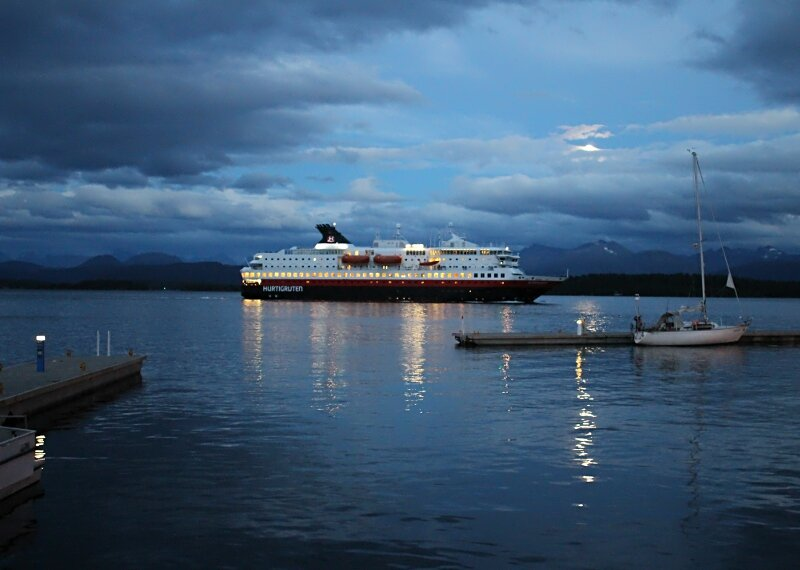Molde, evening, moon, Hurtigruten liner