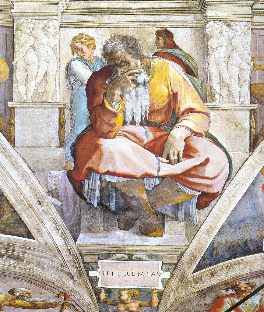 Пророк Иеремия, Роспись свода Сикстинской капеллы(1508-1512),  Микеланджело Буонаротти(1475-1564)