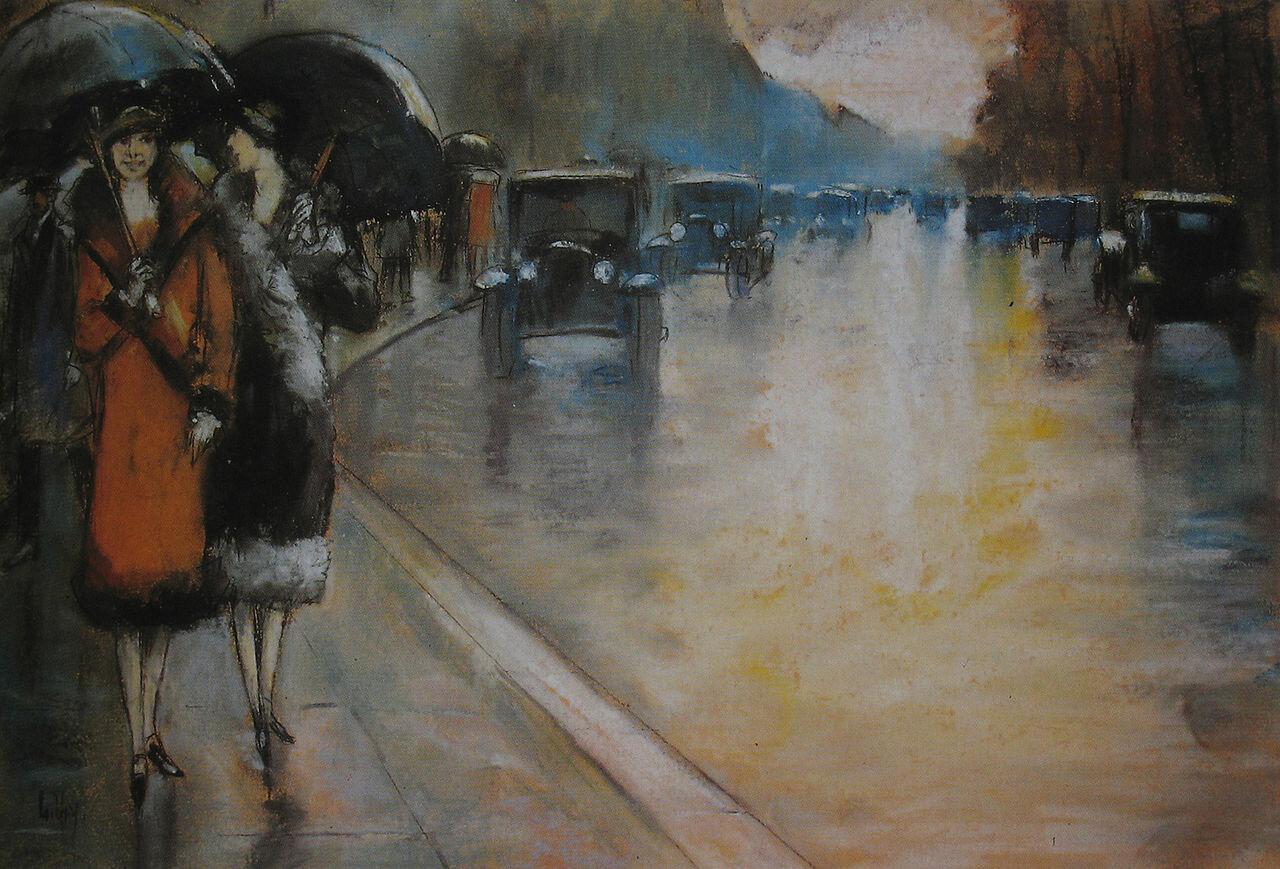 Берлинская улица в дождь. 1925, Ури Лессер  (1861-1831)