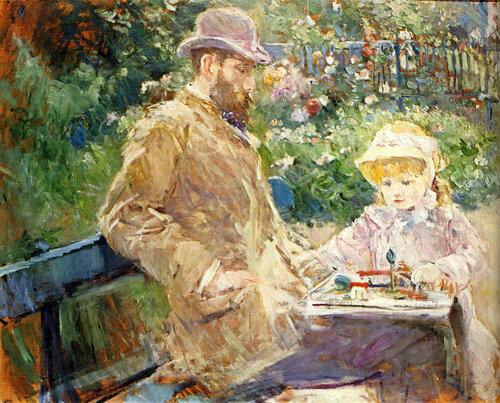 Берта Моризо. Эжен Мане с дочерью в саду. 1881.jpg