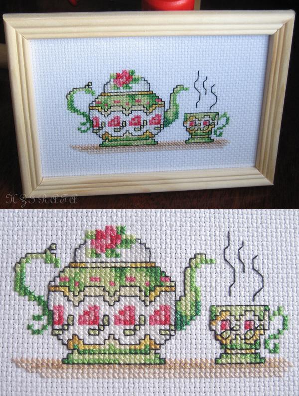 Чайник и чашки схема вышивки