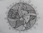 30-05 Урок 1, задание 1, рисование на бумаге zentangle в круге.