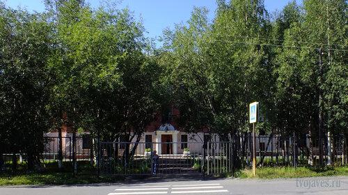 Фотография Инты №5573  Центральный вход в школу №2 (Восточная 100) на юго восточной стороне здания, со стороны дороги 06.08.2013_13:59