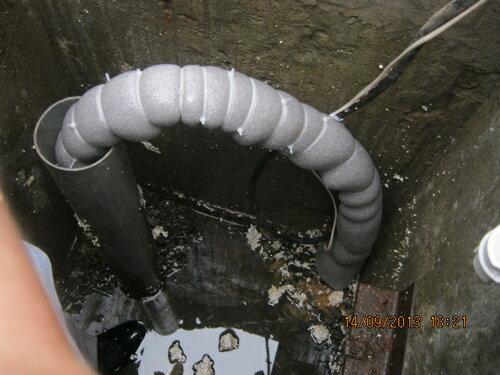 Хобот готов. Термокабель+двойная теплоизоляция+утепление кессона = вода в трубах не замёрзнет