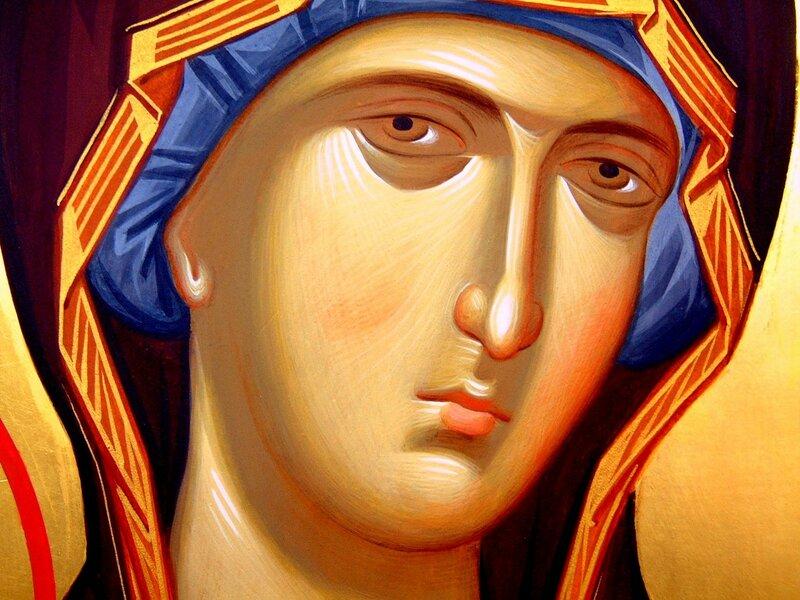 Пресвятая Богородица с Младенцем. Иконописец Александр Рудой. Фрагмент.
