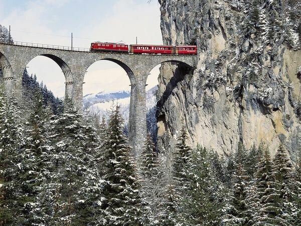 Виадук Ландвассер (Landwasser Viaduct, Graubünden, Switzerland).